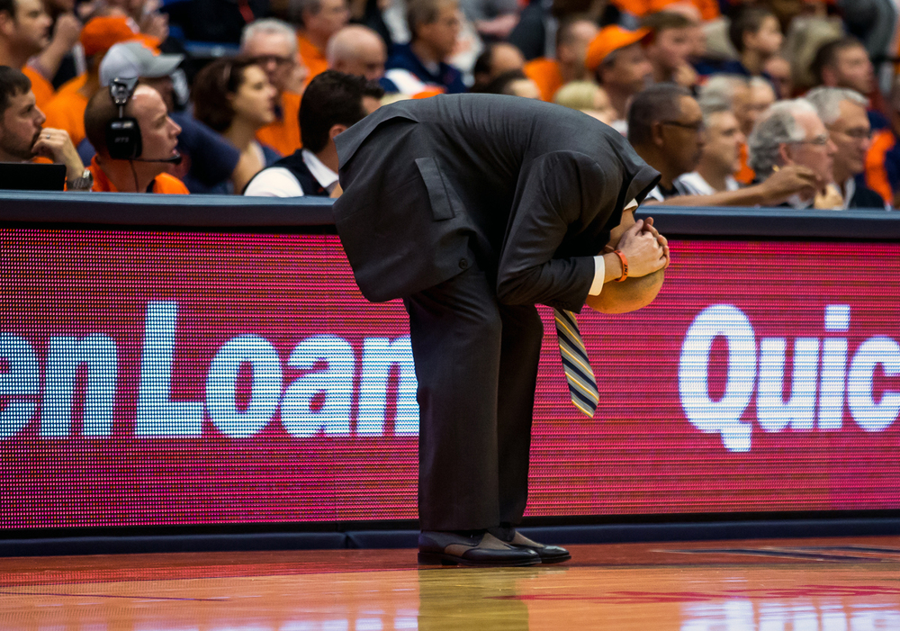 University of Illinois men's basketball coach John Groce reacts after the Illini couldn't force a defensive stop against North Dakota State during the second half at the Prairie Capital Convention Center, Sunday, Nov. 15, 2015, in Springfield, Ill. Justin L. Fowler/The State Journal-Register