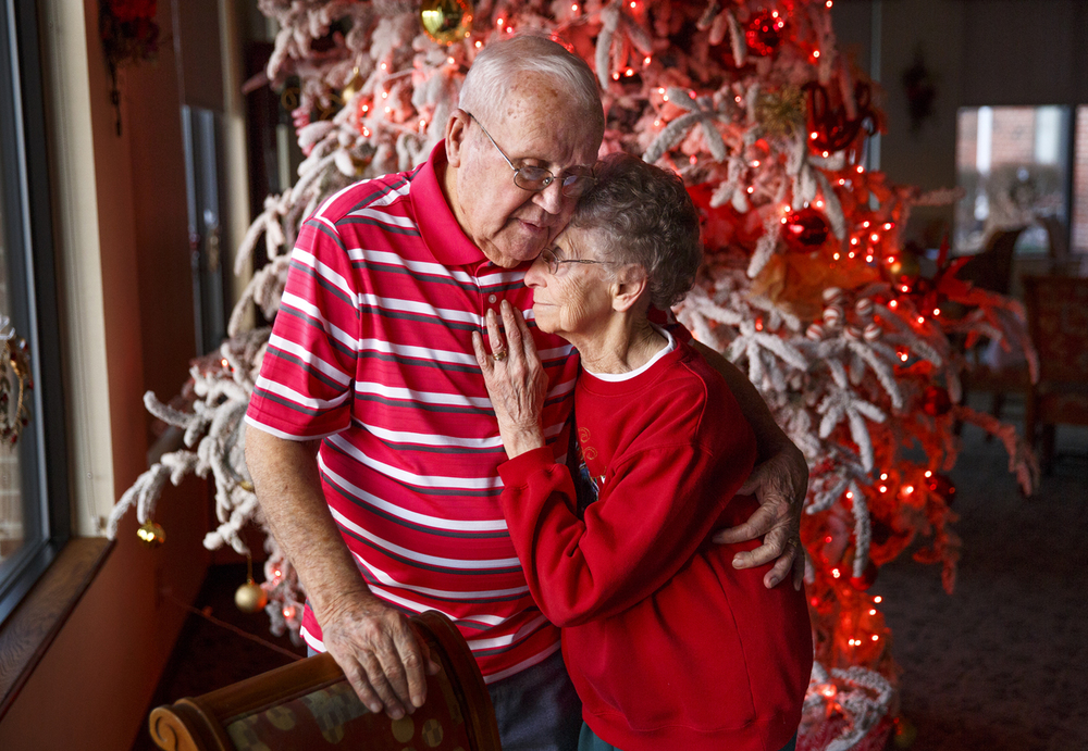 Leonard and Lola Hill eloped and were married on Christmas eve in 1940. The couple, who have known each other since kindergarten age, will celebrate their 75th wedding anniversary Thursday with family and friends. The Hills were photographed Tuesday, Dec. 22, 2015 at Brenden Gardens. Rich Saal/The State Journal-Register