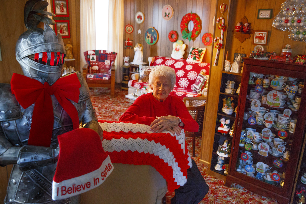 Jean Hulbert, 92, is known to decorate her home in Nokomis for Christmas with exuberance, using every piece of her collection, which began 65 years ago with items from a Five and Dime. Rich Saal/The State Journal-Register