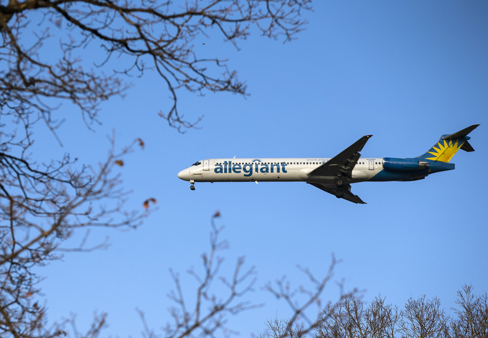 An Allegiant Air flight makes its approach to Abraham Lincoln Capital Airport for landing over Lincoln Park, Thursday, Dec. 31, 2015, in Springfield, Ill. Justin L. Fowler/The State Journal-Register