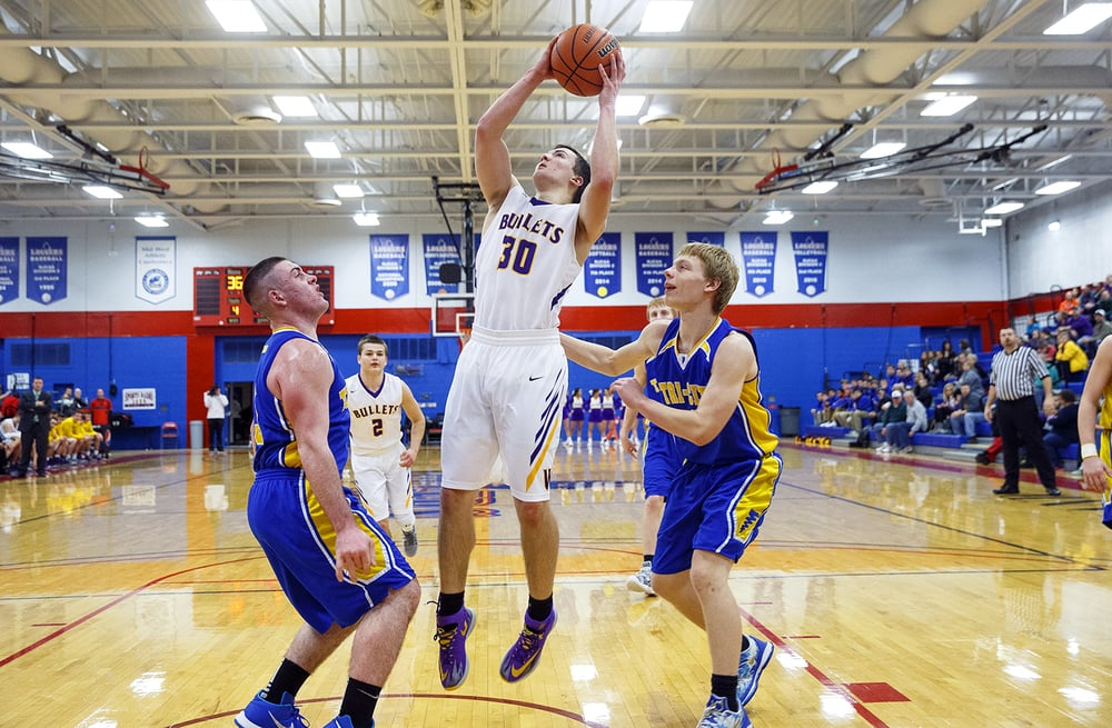 Williamsville's Jon Beal puts up a shot against Tri-City during the County Tournament at Lincoln Land Community College Tuesday, Jan. 12, 2016. Ted Schurter/The State Journal-Register