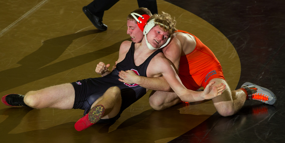 Springfield's Jackson Shearer tries to escape Lanphier's Chase Hampson during the 2016 Springfield Wrestling Tournament at Jim Belz Gymnasium at Sacred-Heart Griffin Friday, Jan. 15, 2016. Ted Schurter/The State Journal-Register