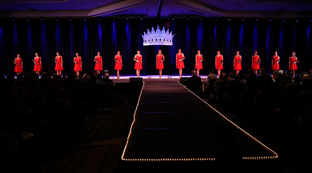 The 15 finalists chosen by the judges stand together onstage Sunday night. David Spencer/The State Journal-Register