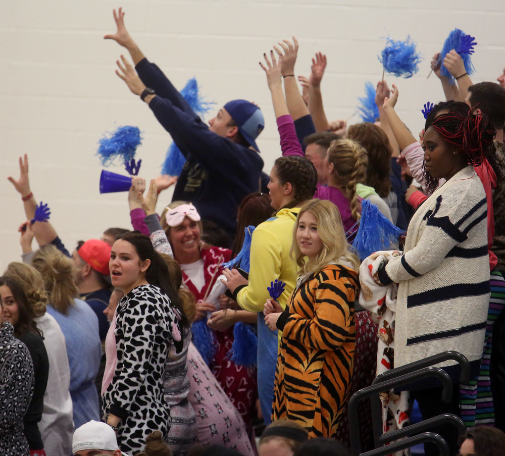 And on the other side of the stands, the UIS Blue Crew student section came to the game wearing their favorite evening wear. David Spencer/The State Journal Register