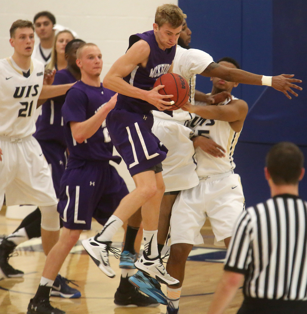 McKendree's Nate Michael grabs a rebound. David Spencer/The State Journal Register