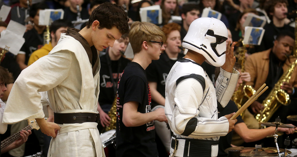 """May the Force Be With Us"", was the Star Wars movie theme adopted by Springfield High School students for this year's tournament. Senators Marching band members and percussionists Noah Schlosser at left and Vishakh Patel took the theme further, dressing as Luke Skywalker and a Stormtrooper respectively. The 68th annual City Boys Basketball Tournament kicked off on Thursday evening, Jan. 21, 2016 at Springfield's Prairie Capital Convention Center. David Spencer/The State Journal-Register"