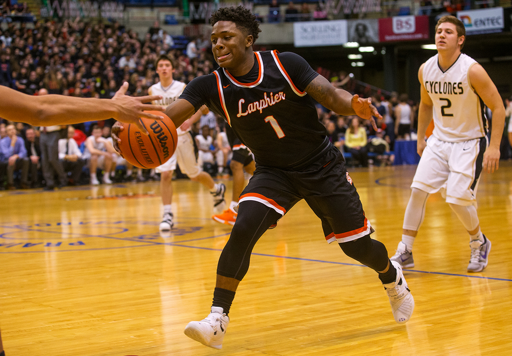 Lanphier's Yaakema Rose steals the ball from Sacred Heart-Griffin during the City Tournament at the Prairie Capital Convention Center Friday, Jan. 22, 2016. Ted Schurter/The State Journal-Register
