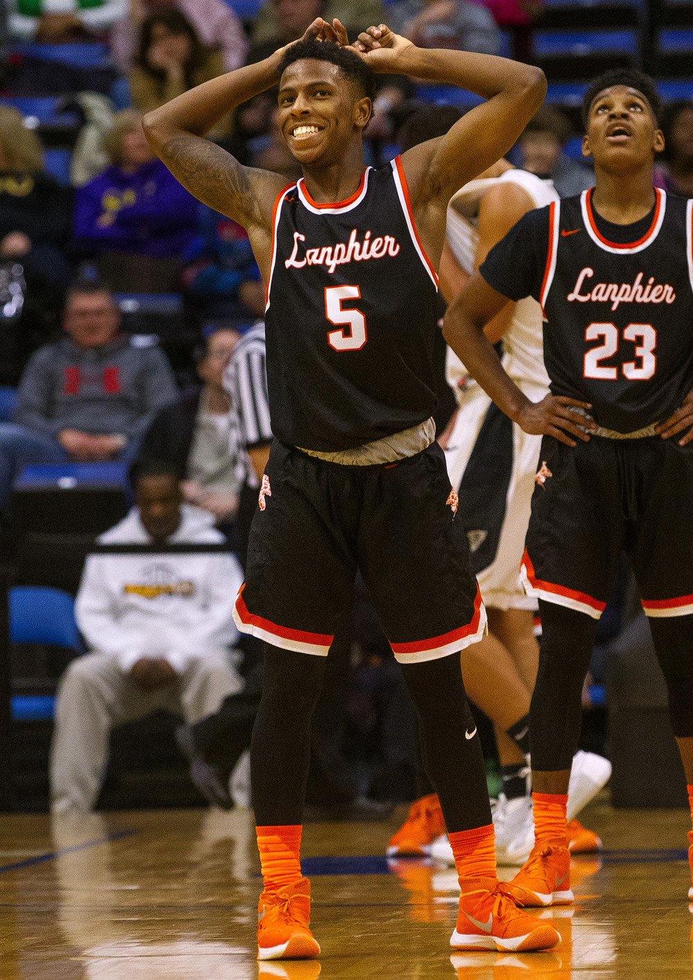 Lanphier's Xavier Bishop was all smiles as he scored a tournament record 50 points against Sacred Heart-Griffin during the City Tournament at the Prairie Capital Convention Center Friday, Jan. 22, 2016. Ted Schurter/The State Journal-Register