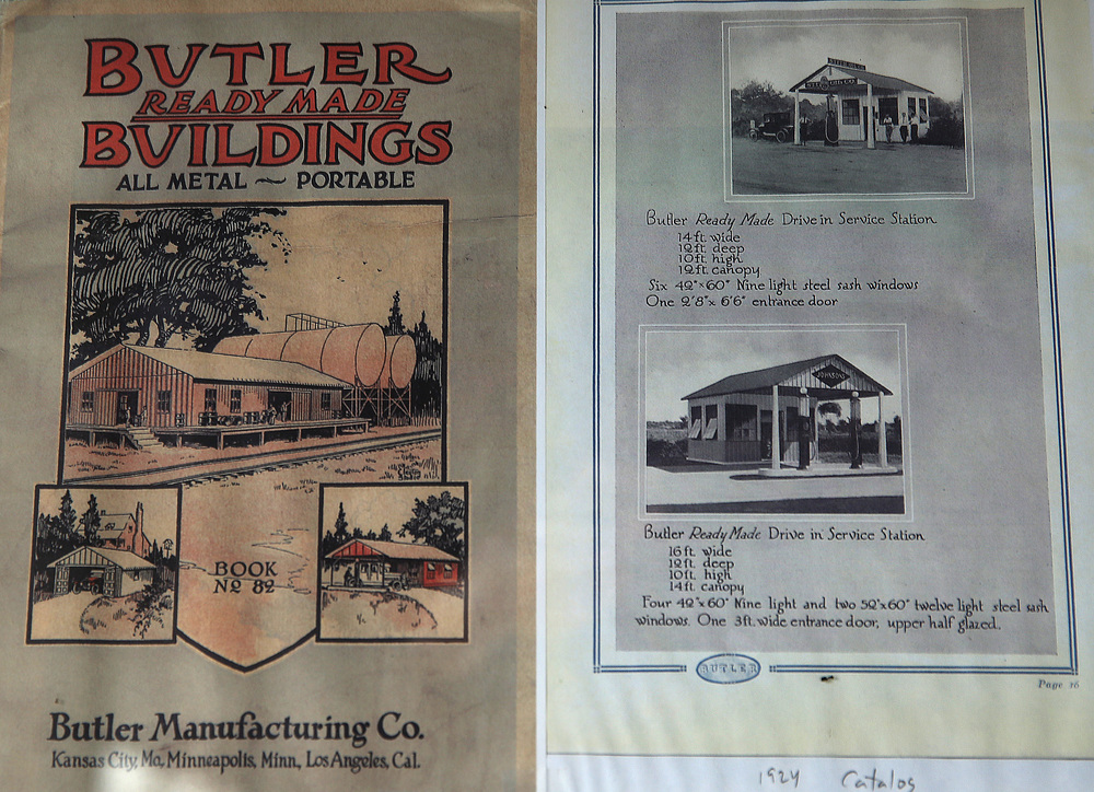 The Mahan's Station was built by Butler Manufacturing Company. An original 1924 catalogue showing several of their filling station buildings at right was included in memorabilia purchased along with it by Jeff Fugenzi in the November, 2015 auction. David Spencer/The State Journal-Register