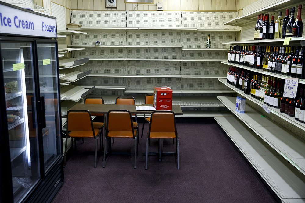 Empty shelves were the backdrop for the room where for decades countless customers ate their lunch at the Food Mart Tuesday, Jan. 26, 2016. The downtown market's last day in Saturday. Rich Saal/The State Journal-Register