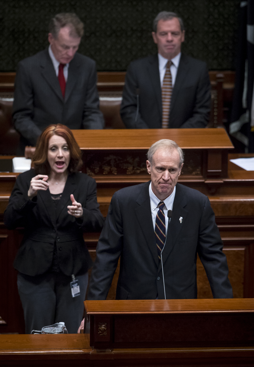 Illinois Gov. Bruce Rauner delivers his State of the State address to a joint session of the General Assembly in the House chambers at the Illinois State Capitol, Wednesday, Jan. 27, 2016, in Springfield, Ill. Justin L. Fowler/The State Journal-Register