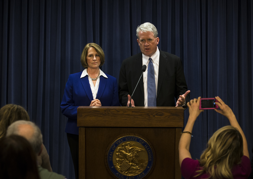 Illinois Senate Republican Leader Christine Radogno, left, and Illinois House Republican Leader Jim Durkin, right, speak to the press following Illinois Gov. Bruce Rauner's State of the State address at the Illinois State Capitol, Wednesday, Jan. 27, 2016, in Springfield, Ill. Justin L. Fowler/The State Journal-Register