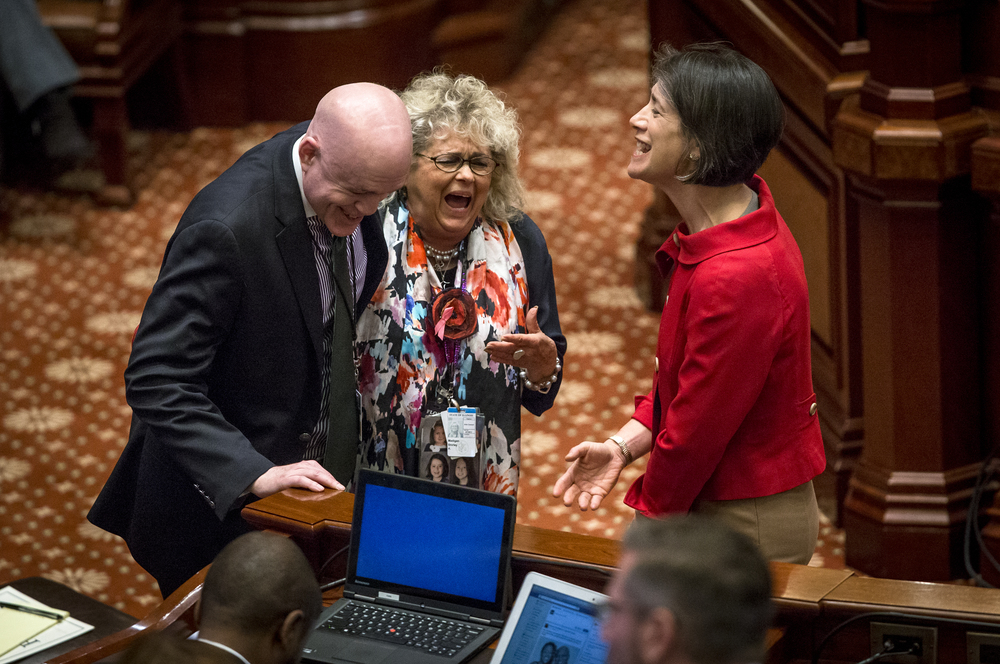 Shirley Madigan, center, the wife of House Speaker Michael Madigan, talks with Rep. Greg Harris, left, and first lady Diana Rauner, right, prior to Gov. Bruce Rauner's State of the State in the House Chambers at the Illinois State Capitol, Wednesday, Jan. 27, 2016, in Springfield, Ill. Justin L. Fowler/The State Journal-Register