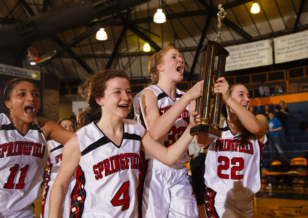 Springfield's Ellie Brandt and the Senators celebrate their win against Sacred Heart-Griffin during the Girls City Tournament title game at Southeast High School Thursday Jan. 28, 2016. Ted Schurter/The State Journal-Register