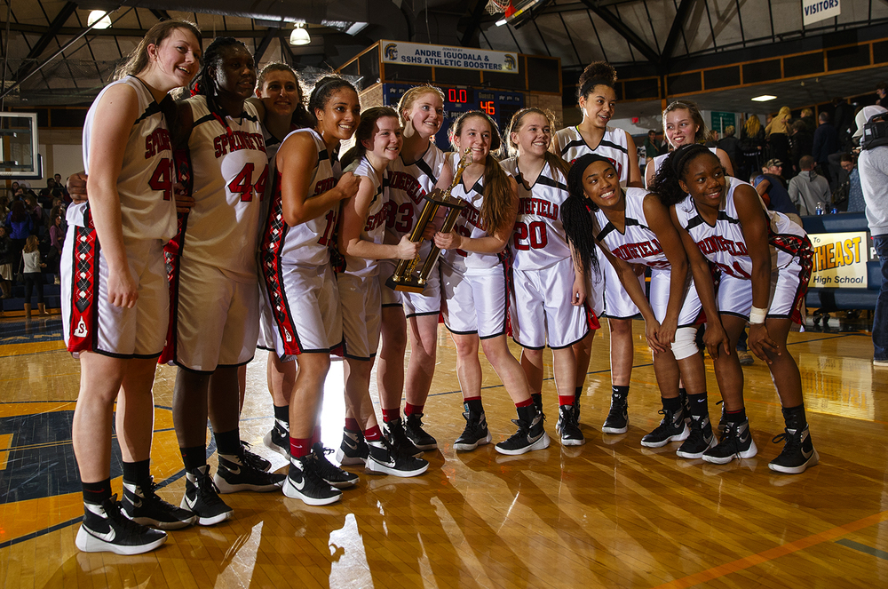 The Springfield Senators pose with their trophy after defeating Sacred Heart-Griffin during the Girls City Tournament title game at Southeast High School Thursday Jan. 28, 2016. Ted Schurter/The State Journal-Register