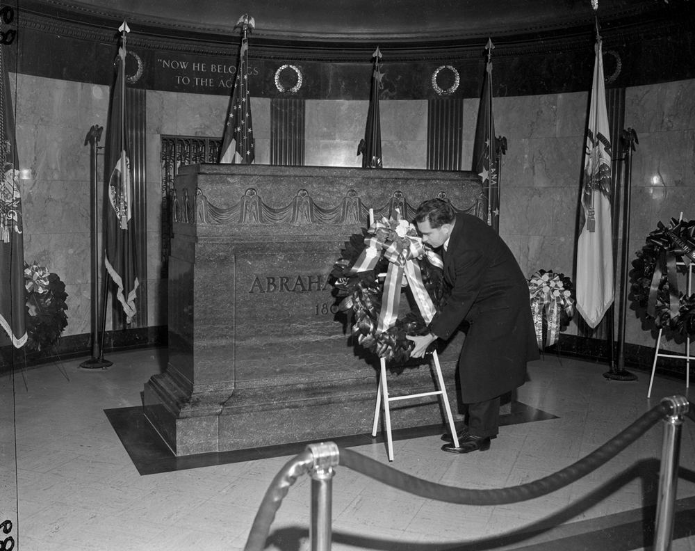 Vice President Richard Nixon lays a wreath at Lincoln's Tomb January 14, 1956. File/The State Journal-Register