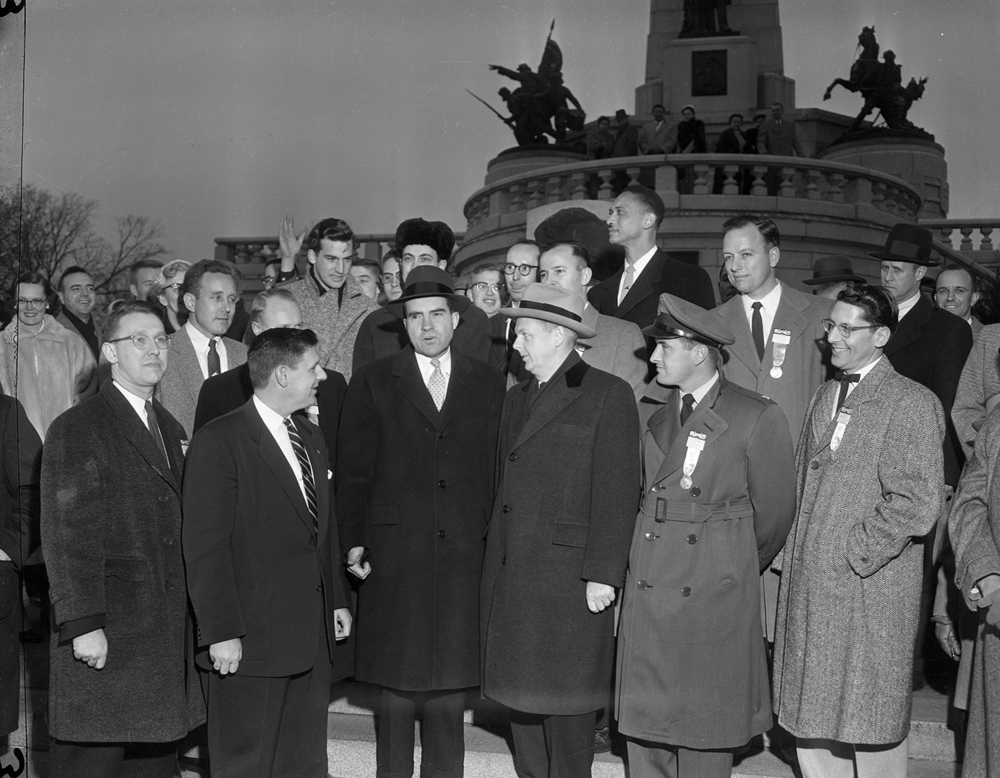 Vice President Richard Nixon with Gov. William Stratton and the 1955 Ten Outstanding Young Men of America, honored during an event at the State Armory Jan. 14, 1956. File/The State Journal-Register