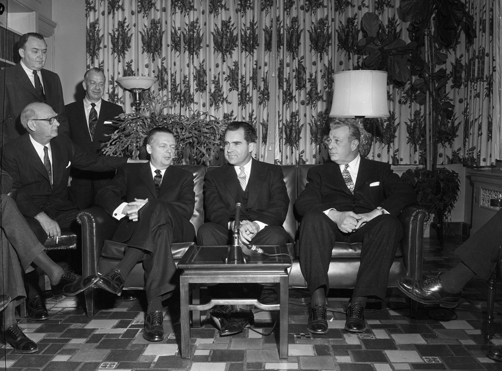 Vice President Richard Nixon with Gov. William Stratton, left, and Sen. Everett McKinley Dirksen speak with reporters at the Executive Mansion Jan. 14, 1956. File/The State Journal-Register