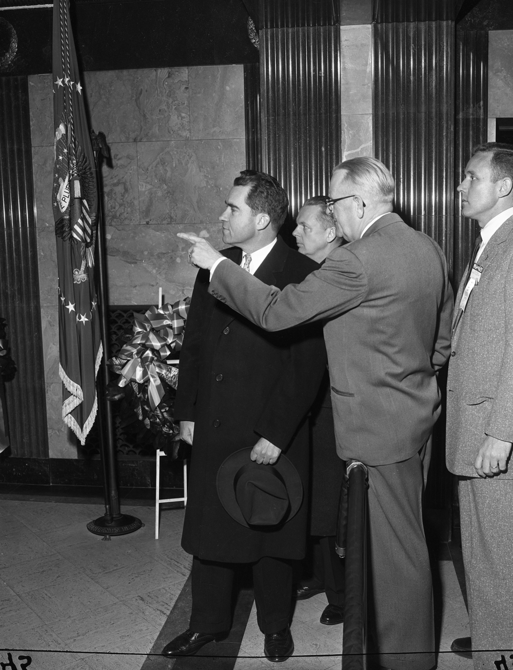 Vice President Richard Nixon, with Gov. William Stratton, back, and Lincoln Tomb Custodian George Cashman at Lincoln's Tomb Jan. 14, 1956. File/The State Journal-Regsiter