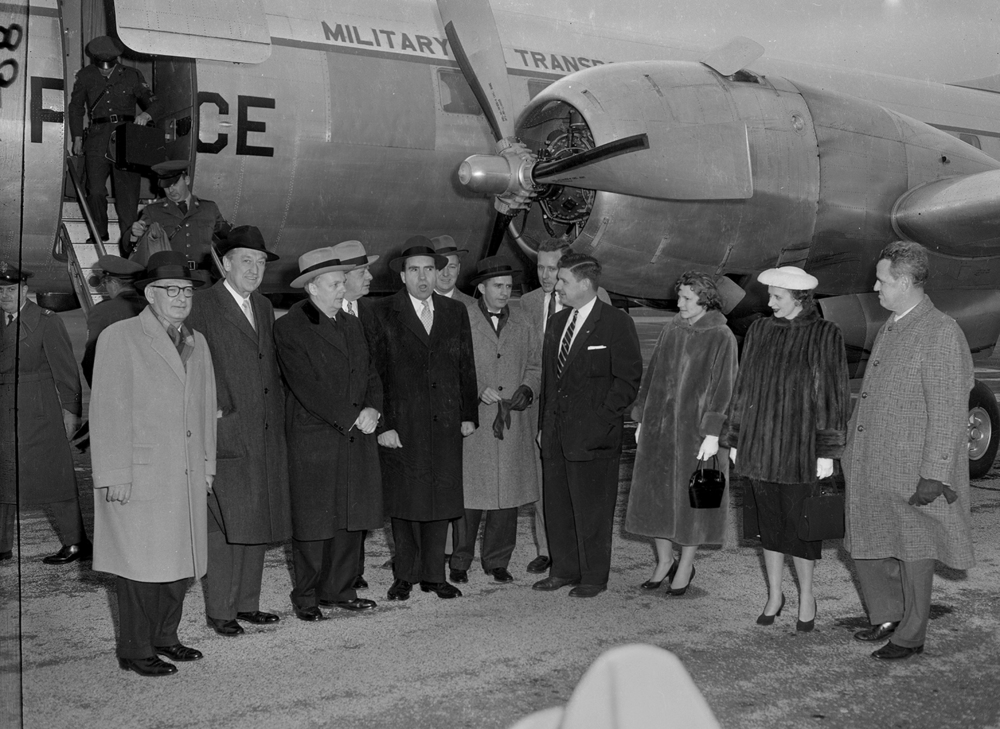 Vice President Richard Nixon arrives at Capital Airport for appearance at U. S. Junior Chamber of Commerce event at the Illinois State Armory, with Gov. William Stratton, Springfield Mayor Nelson Howarth, far right, Jan. 14, 1956. File/The State Journal-Register