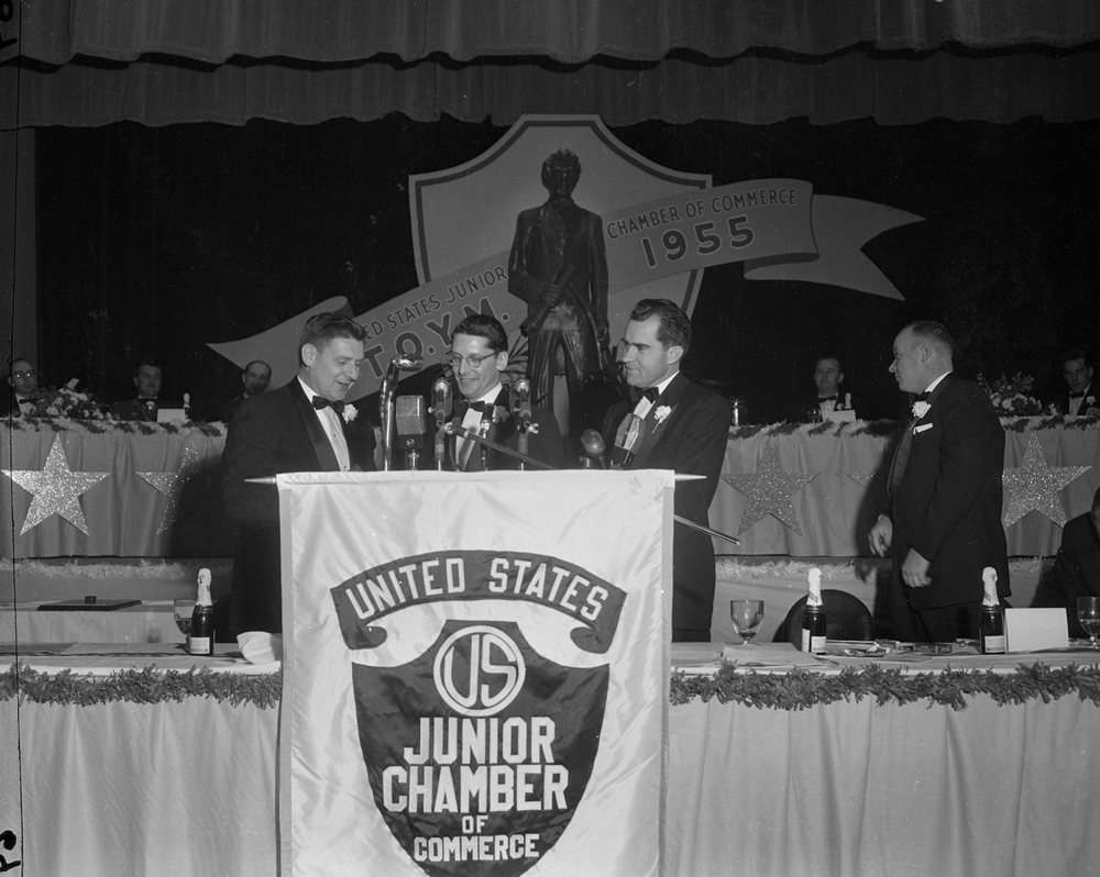 Vice President Richard Nixon at U.S. Junior Chamber of Commerce event at the State Armory Jan. 14, 1956. File/The State Journal-Register