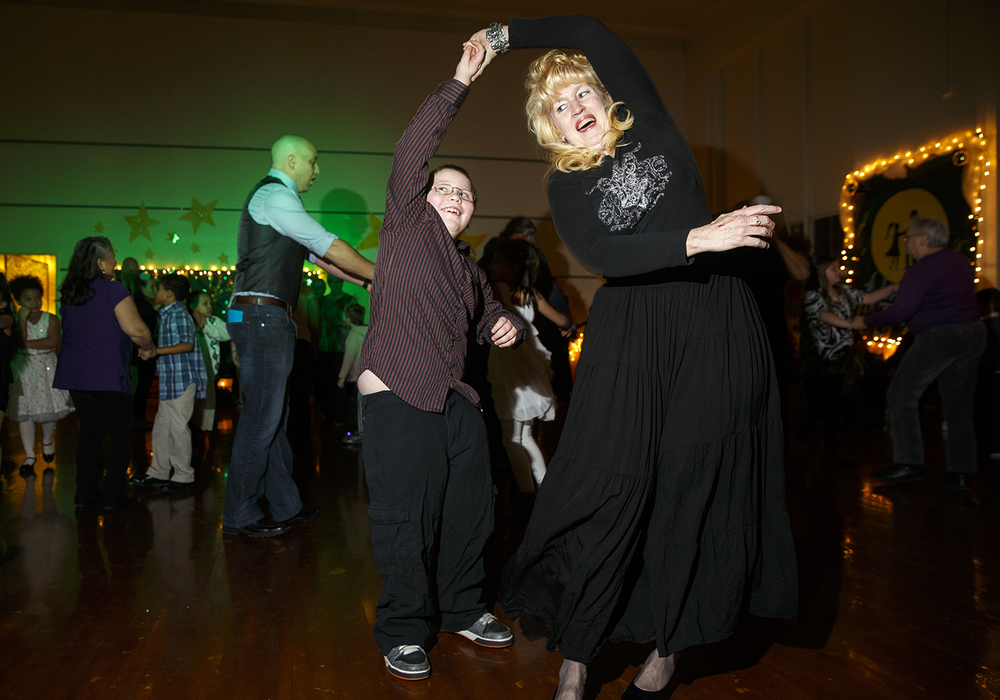 "Jaden Eiskant dances ""The Twist"" with his grandmother Tammy Adams during the Dubois Elementary School second annual ""Grand Ball"" Friday, Jan. 29, 2016. Students and their guests dressed up in formal attire could entertain themselves on the dance floor, at the photo booth or enjoy ""fancy"" refreshments. Ted Schurter/The State Journal-Register"