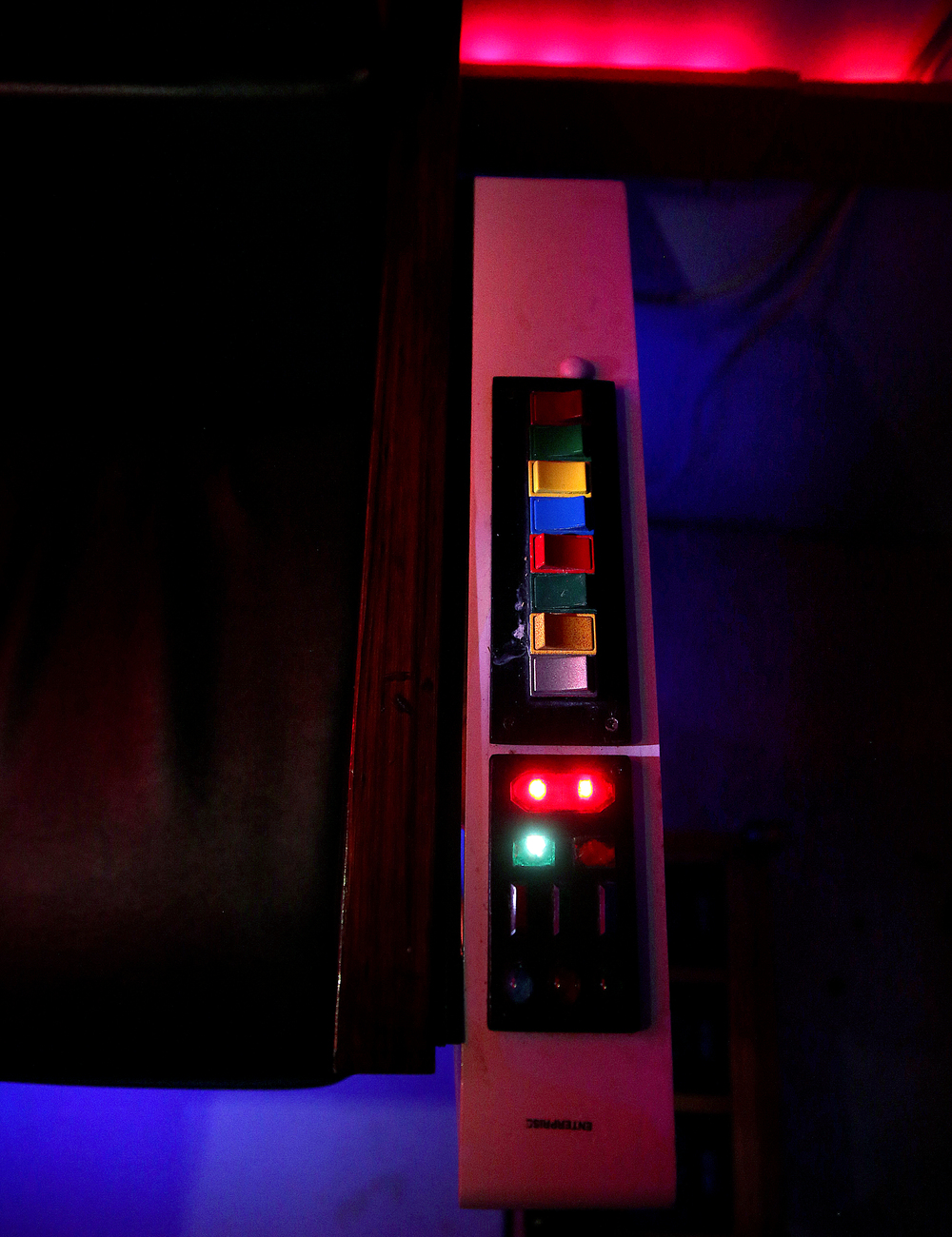 A close-up shows control buttons on one arm of Captain Kirk's chair in the man cave, seen here on Friday, Jan. 29, 2016. David Spencer/The State Journal Register