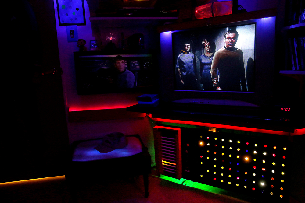 A television playing an episode of Star Trek with custom-built console featuring a grid array of backlit colored marbles at bottom right puts a viewer of the show in the room in a proper state of mind, seen here on Friday, Jan. 29, 2016. David Spencer/The State Journal Register