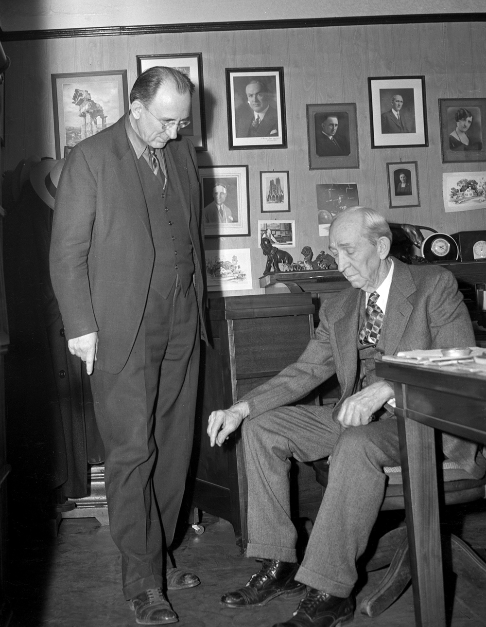 Murray S. Hanes and his father, S.J.Hanes, Feb. 7, 1945. Their office at 205 1/2 S. Sixth St. were in the office once used by Abraham Lincoln and John Logan as their law office between 1841-1844 and later by Lincoln and William Herndon. It's now the Lincoln-Herndon Law Office, a state historic site. Pub. ISJ Feb. 11, 1945, p. 14. File/The State Journal-Register
