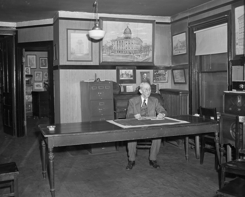 Samuel Hanes at work in the Hanes Architecture office, previously the law offices of Abraham Lincoln and his first partner John Todd Stuart. The Hanes occupied the space from 1894 to 1967. File/The State Journal-Register