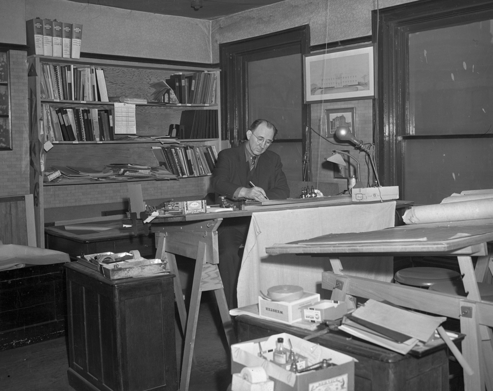 Murray S. Hanes at work in the  Hanes Architecture office, previously the law offices of Abraham Lincoln and his first partner John Todd Stuart. The Hanes occupied the space from 1894 to 1967.