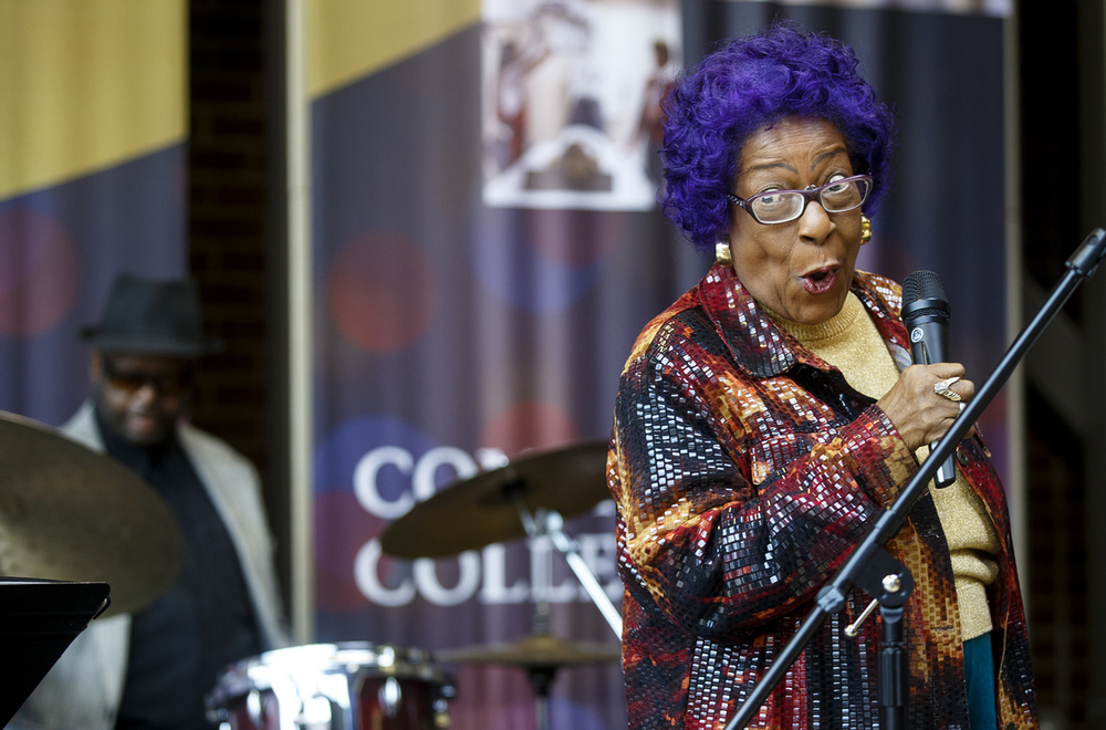 Ada Lou Rogers smiles at the audience as she performs A Taste of Jazz, Rhythm and Blues with Chahrm the Band with Ada Lou at Lincoln Land Community College Wednesday, Feb. 3, 2016. Joining Rogers were were John T. Crisp Jr. on keyboard, Alex Rogers on guitar and Jaro Howse on drums. Ted Schurter/The State Journal-Register