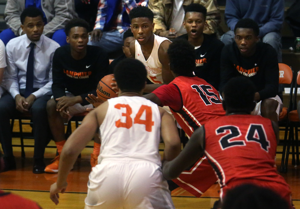 Lanphier's Xavier Bishop looks for an open man during the second half. David Spencer/The State Journal Register