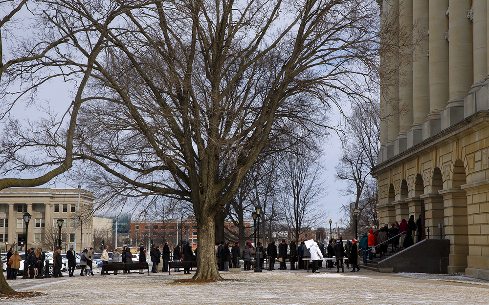Guests line up at the west entrance to the capitol before President Barack Obama's speech to the Illinois legislature Wednesday, Feb. 10, 2016,  Ted Schurter/The State Journal-Register