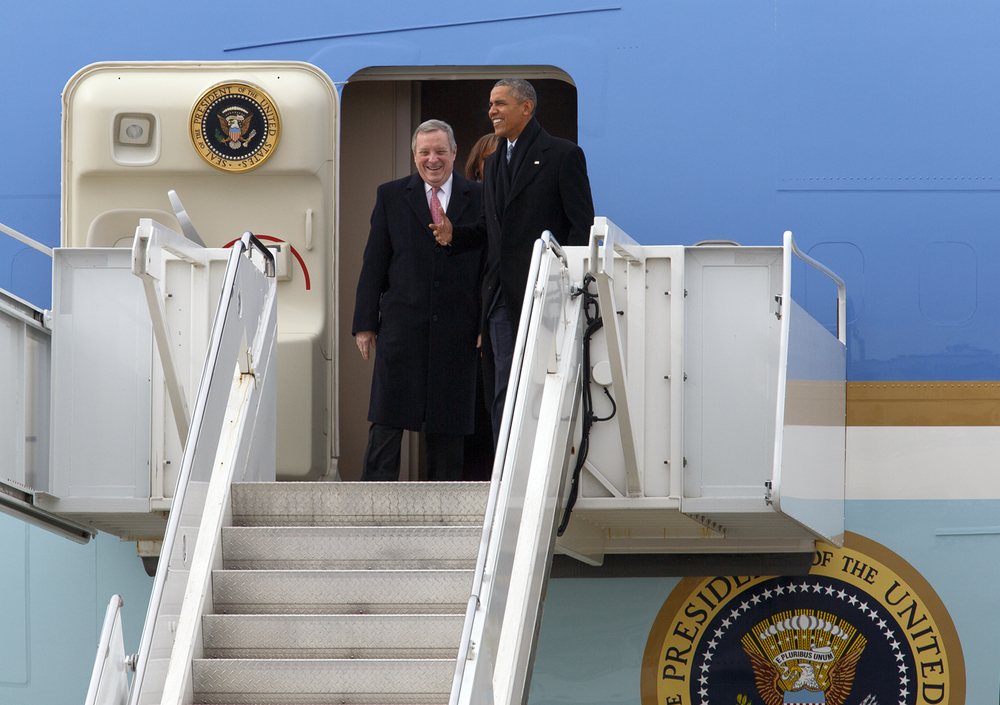 President Barack Obama and Sen. Dick Durbin exit Air Force One after arriving at Abraham Lincoln Capital Airport Wednesday, Feb. 10, 2016. Rich Saal/The State Journal-Register