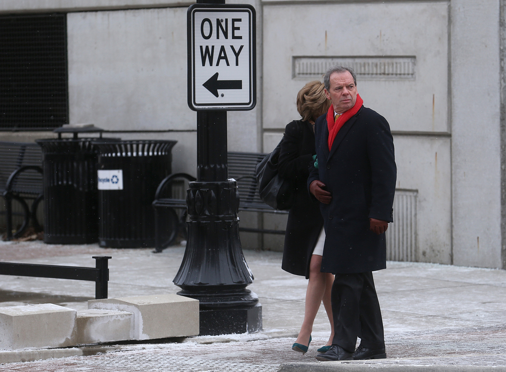 Illinois Senate President John Cullerton, D-Chicago and wife Pam prepare to cross Capitol Avenue after leaving the Hoogland Center for the Arts at the conclusion of President Obama's appearance there on Wednesday, Feb. 10, 2016. David Spencer/The State Journal Register