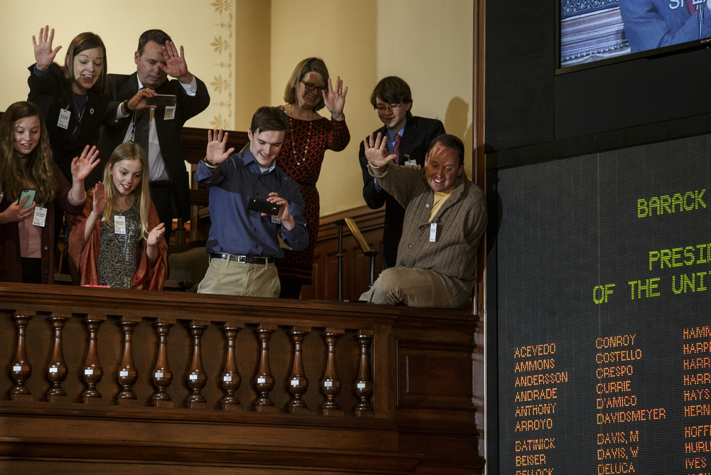 Visitors in the House Gallery wave to President Barack Obama as he departs a joint session of the Illinois General Assembly after giving a speech in the Illinois House chambers at the Illinois State Capitol, Wednesday, Feb. 10, 2016, in Springfield, Ill. Justin L. Fowler/The State Journal-Register