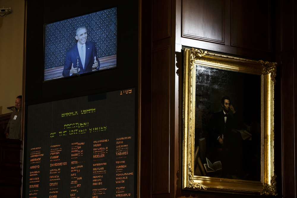 President Barack Obama delivers a speech to a joint session of the Illinois General Assembly in the Illinois House chambers at the Illinois State Capitol, Wednesday, Feb. 10, 2016, in Springfield, Ill. Justin L. Fowler/The State Journal-Register