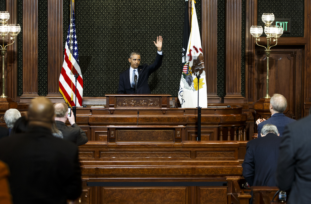 President Barack Obama waves goodbye as he concludes his speech to a joint session of the Illinois General Assembly in the Illinois House chambers at the Illinois State Capitol, Wednesday, Feb. 10, 2016, in Springfield, Ill. Justin L. Fowler/The State Journal-Register