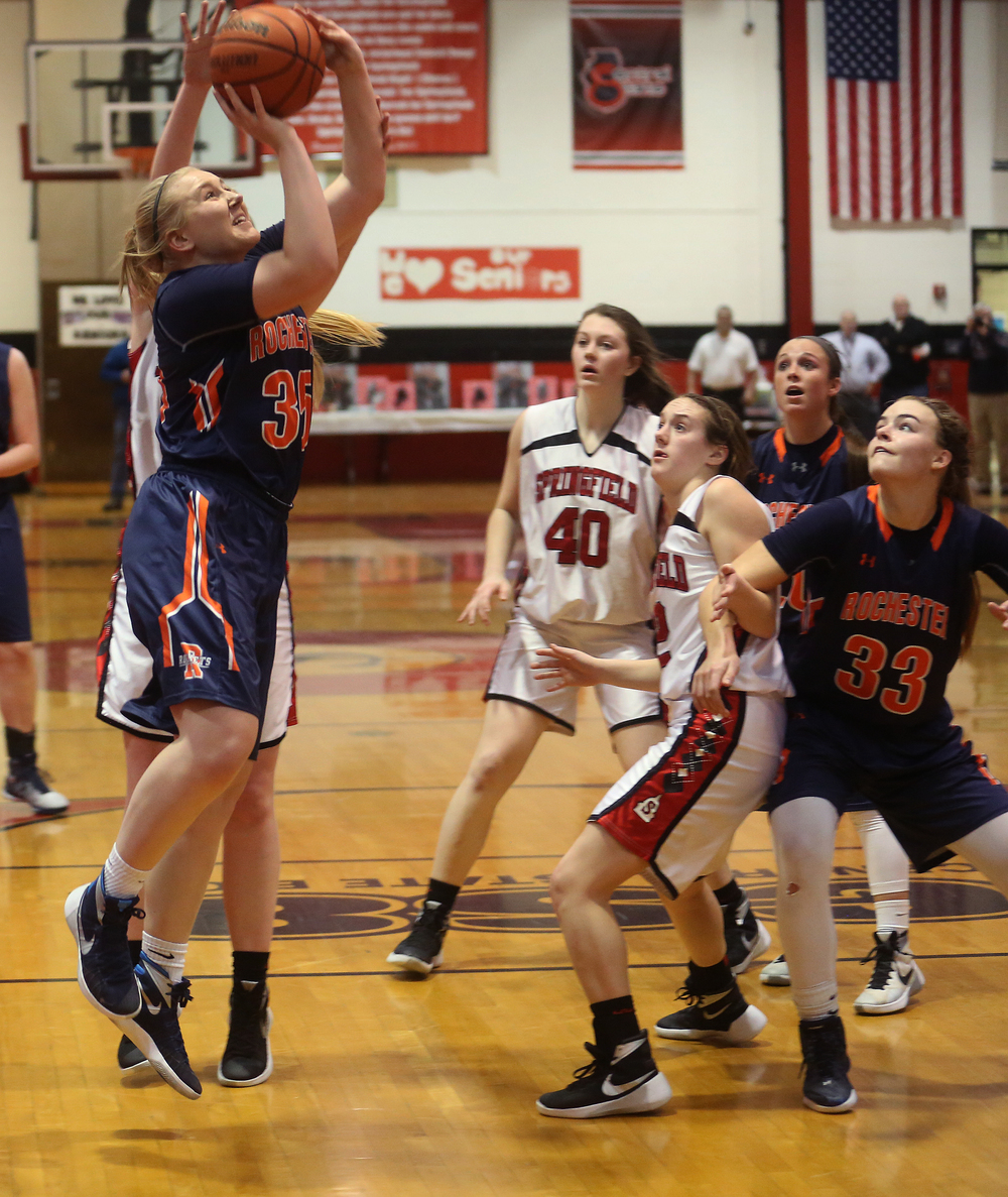 Rochester's Madison Faulkner puts up a shot. David Spencer/The State Journal Register