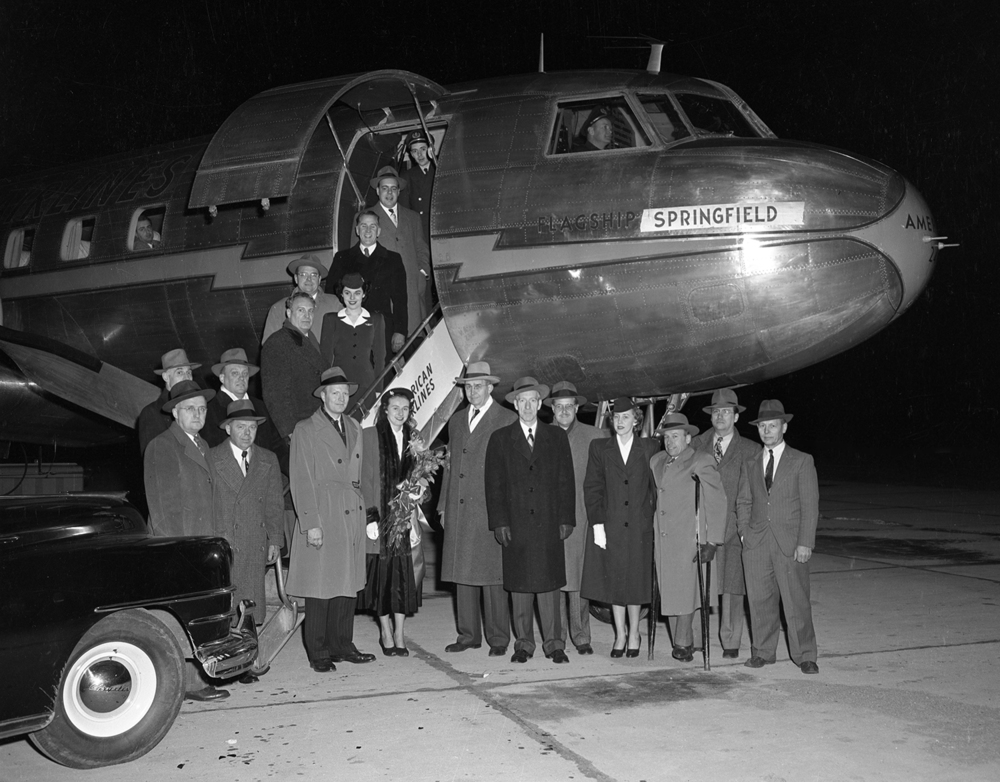 Christening of American Airlines passenger plane, Flagship Springfield at Capital Airport, Feb. 1, 1949. File/The State Journal-Register