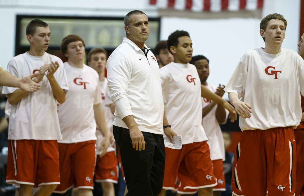 Glenwood head basketball coach Todd Blakeman comes out to see his players in a timeout as the Titans take on Springfield in the first quarter at Willard Duey Gymnasium, Friday, Feb. 12, 2016, in Springfield, Ill. Justin L. Fowler/The State Journal-Register