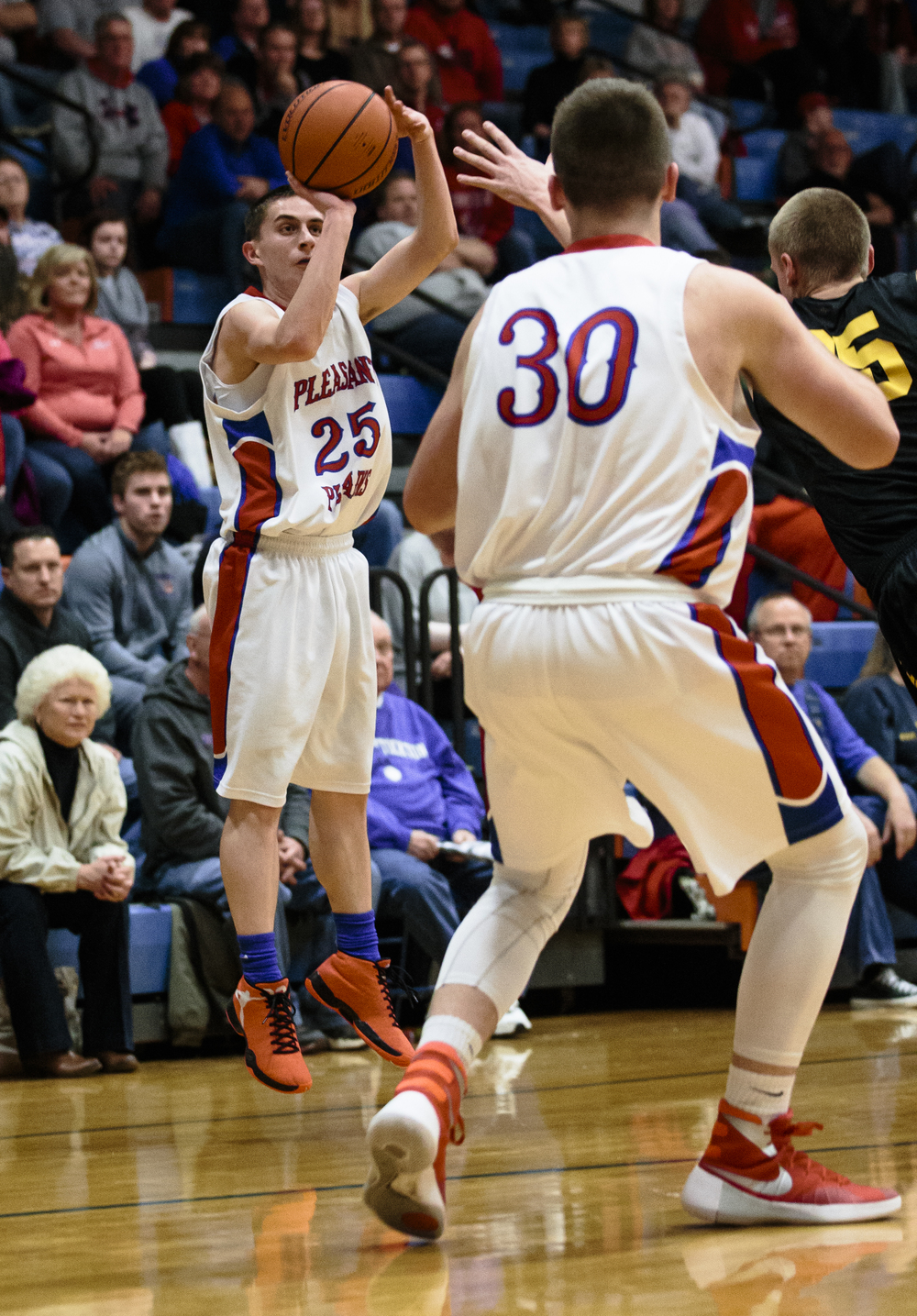 Pleasant Plains' Isaac Collins (25) fires a three against Reed-Custer in the second quarter during the Riverton Subway Shootout at Riverton High School, Saturday, Feb. 13, 2016, in Riverton, Ill. Justin L. Fowler/The State Journal-Register