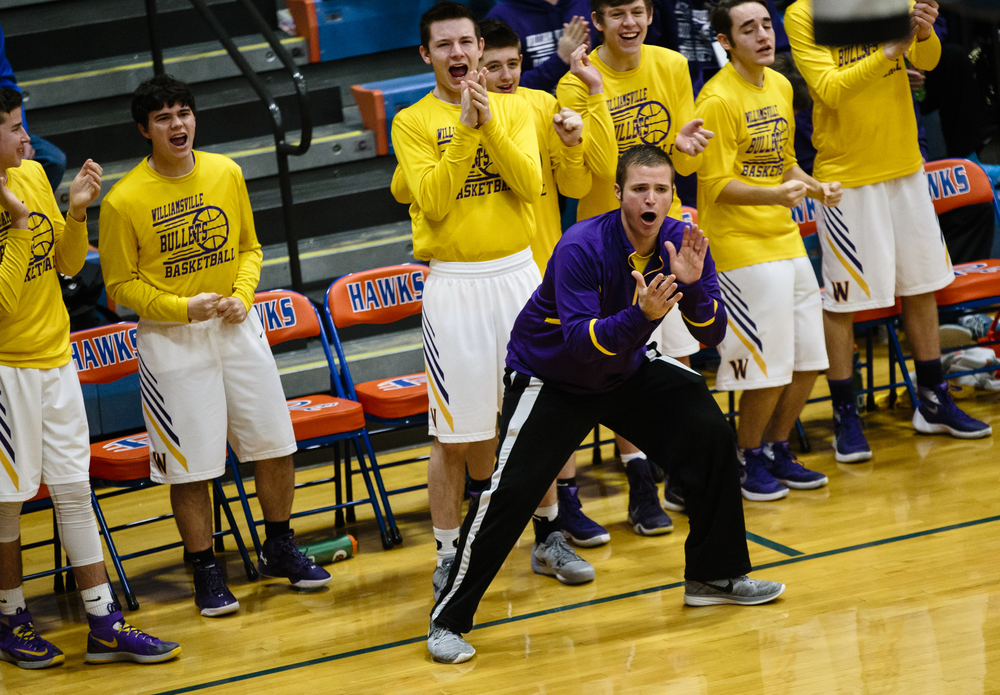 Williamsville head boys basketball coach Nick Beard cheers on his team after they make a basket against Metro-East Lutheran in the third quarter during the Riverton Subway Shootout at Riverton High School, Saturday, Feb. 13, 2016, in Riverton, Ill. Justin L. Fowler/The State Journal-Register