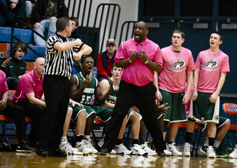 Metro-East Lutheran head boys basketball coach Anthony Smith reacts after a traveling call was made against his team as they take on Williamsville in the fourth quarter during the Riverton Subway Shootout at Riverton High School, Saturday, Feb. 13, 2016, in Riverton, Ill. Justin L. Fowler/The State Journal-Register
