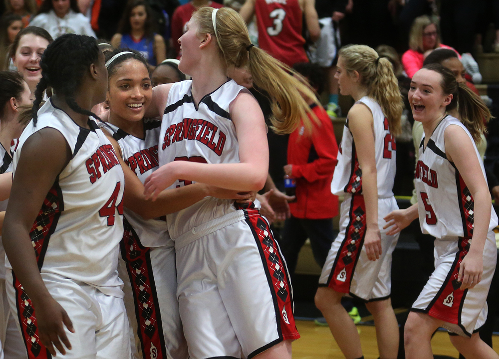 The Senators celebrate at the end of the game. From left to right are Montshianna Pulliam, Kyra Webster and Ellie Brandt. David Spencer/The State Journal Register