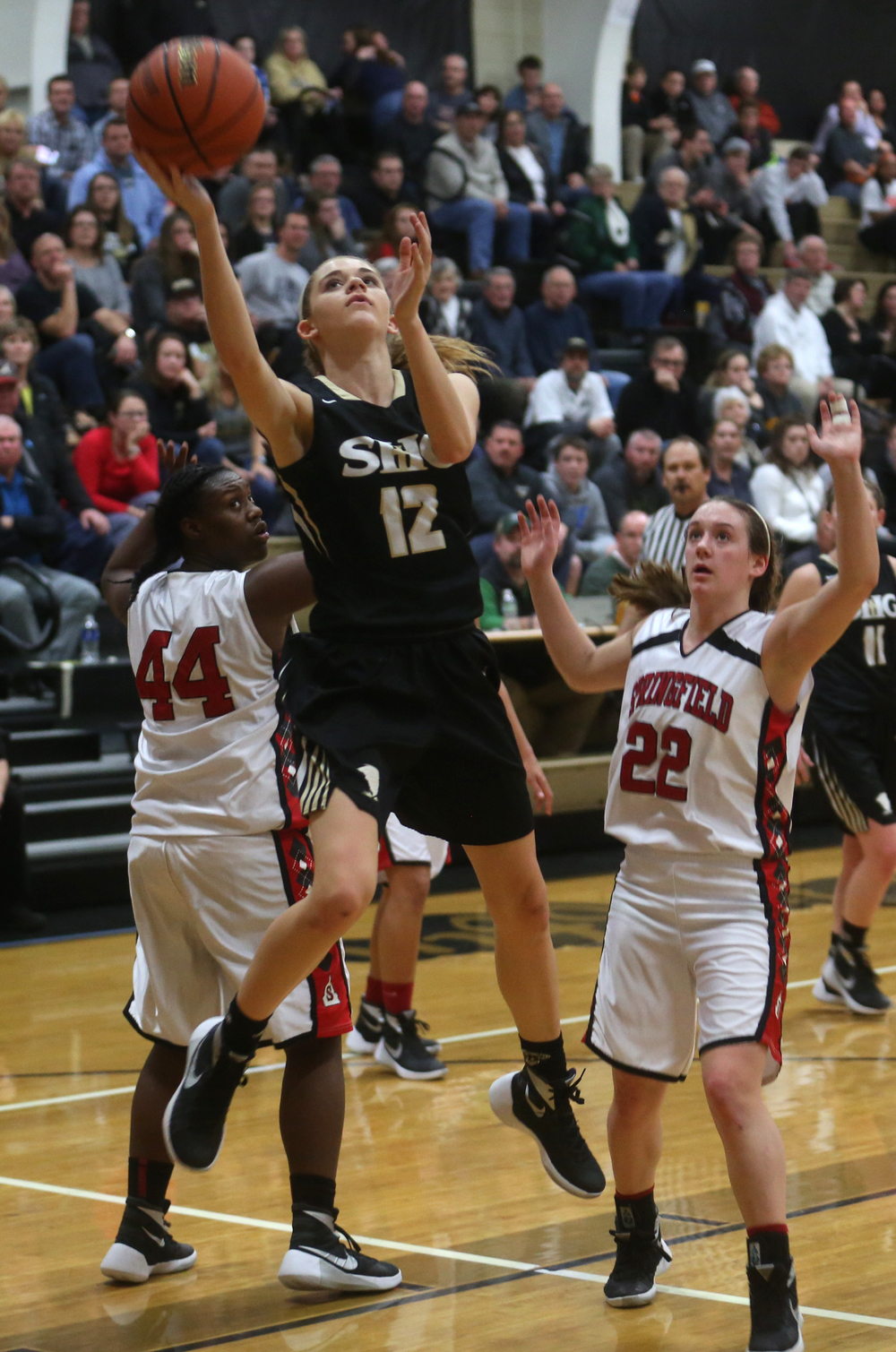 SHG player Catie Eck puts up two points late in the game.  David Spencer/The State Journal Register