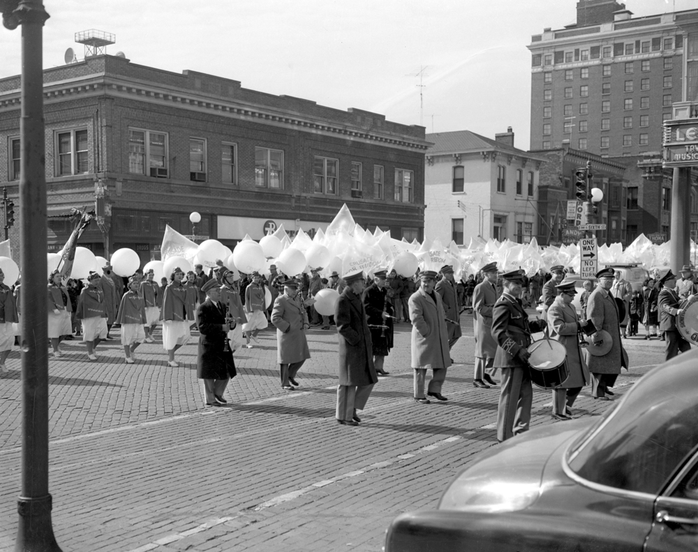 The Freedom Flight parade makes the turn from Capitol Avenue onto Sixth Street on the way to the public square   Feb. 12, 1954. File/The State Journal-Register