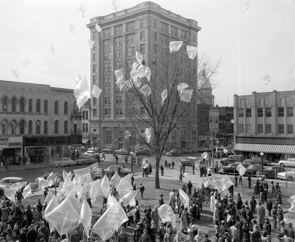 The Freedom Flight balloon launch on the southwest corner of the public square Feb. 12, 1954. File/The State Journal-Register