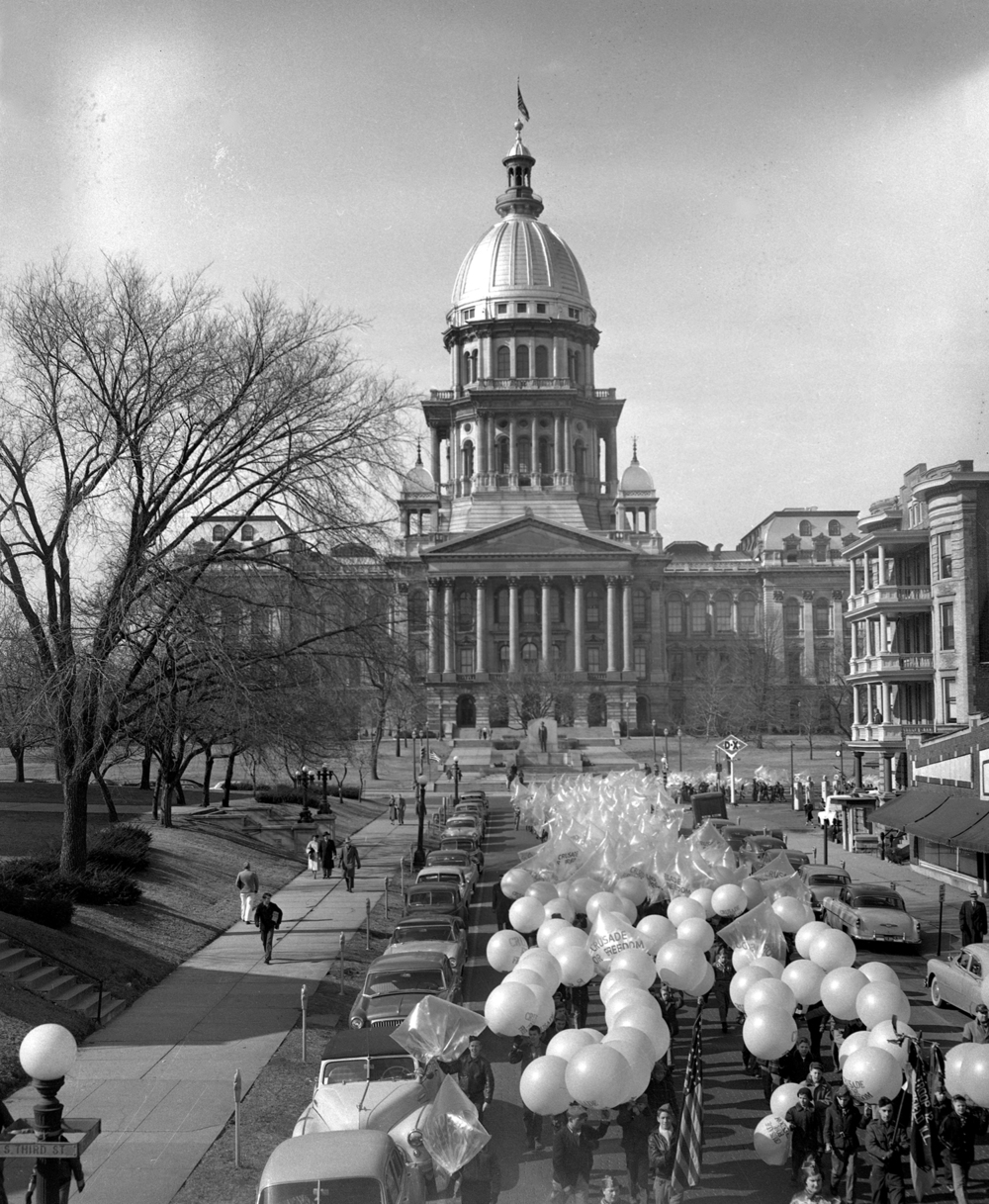 The Freedom Flight parade on Capitol Avenue on the way to the public square   Feb. 12, 1954. File/The State Journal-Register